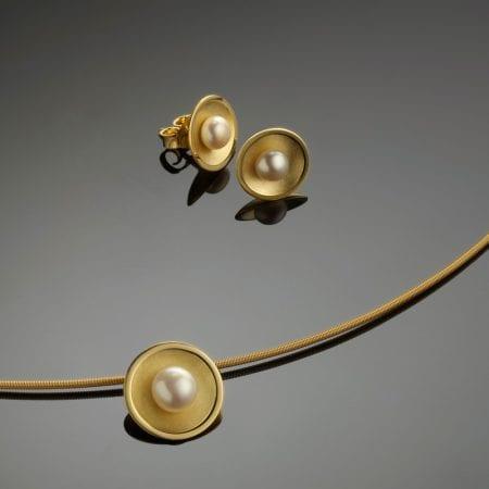 Schmuckset Gold Perle Collier Anhänger Halsreif Ohrstecker
