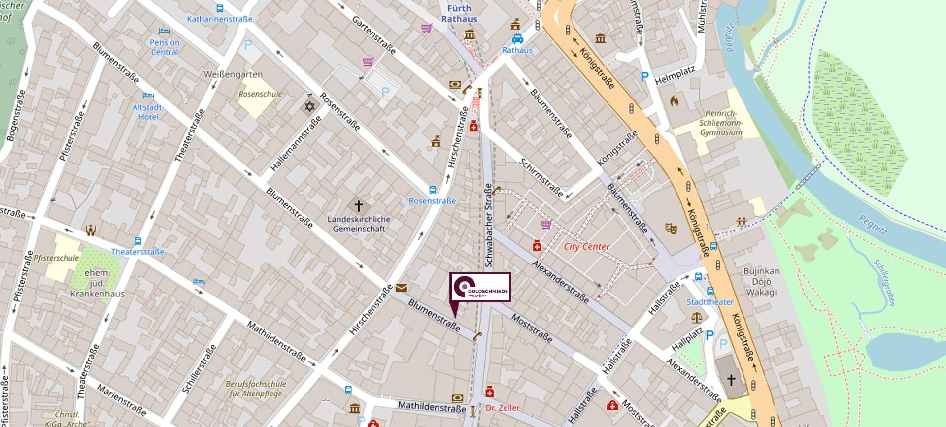 Karte Lage Adresse Schwabacherstraße 26 Ecke Blumenstraße Fürth