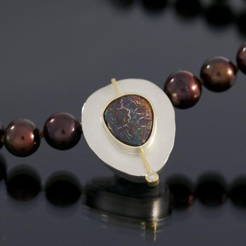 Wechselschließe Gold Silber Boulderopal Perlenkette