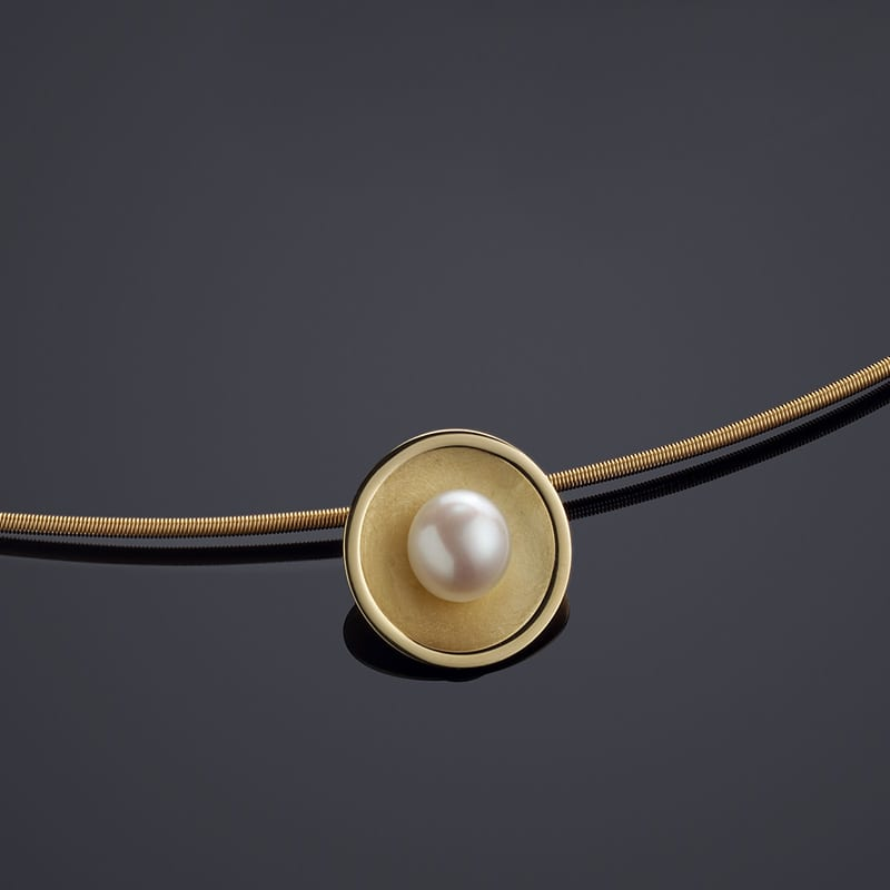 Collier Anhänger Halsreif Gold Perle