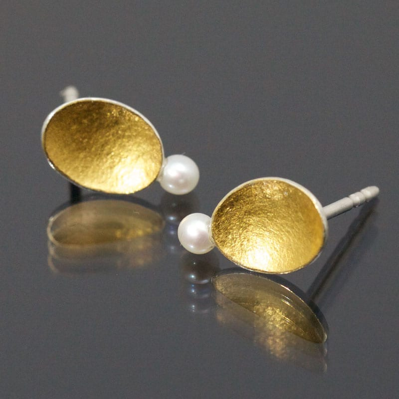 Ohstecker Silber Feingold Perle oval klein