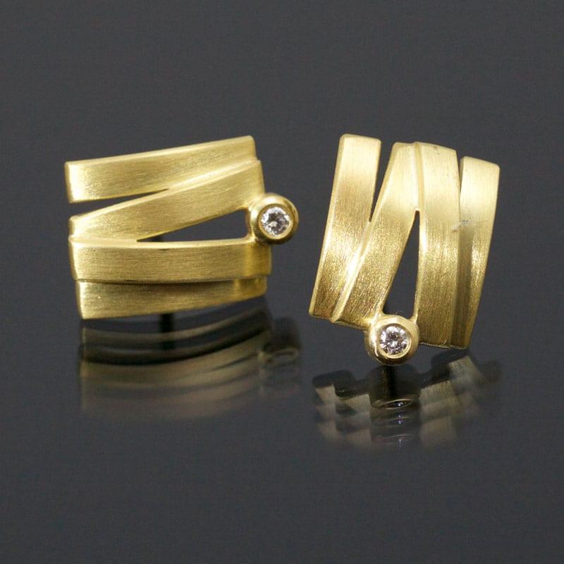 Ohrstecker Gold Brillant eckig