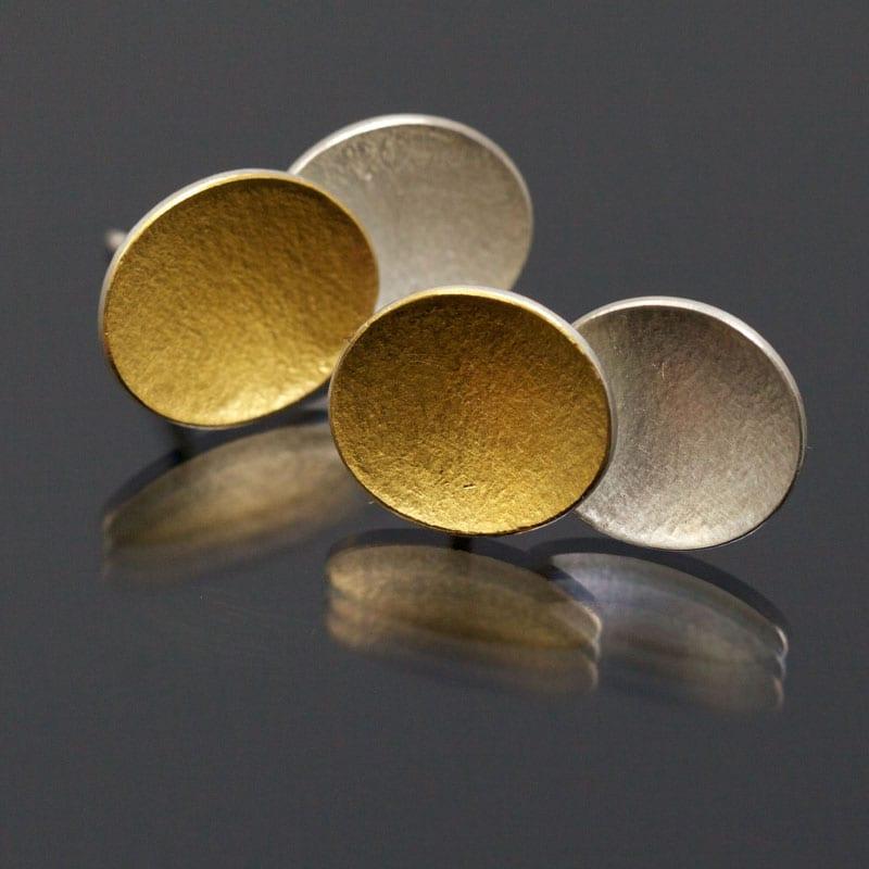 Ohrstecker Silber Feingold oval