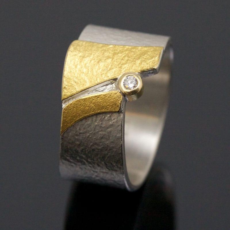 Ring Silber Feingold Brillant Struktur