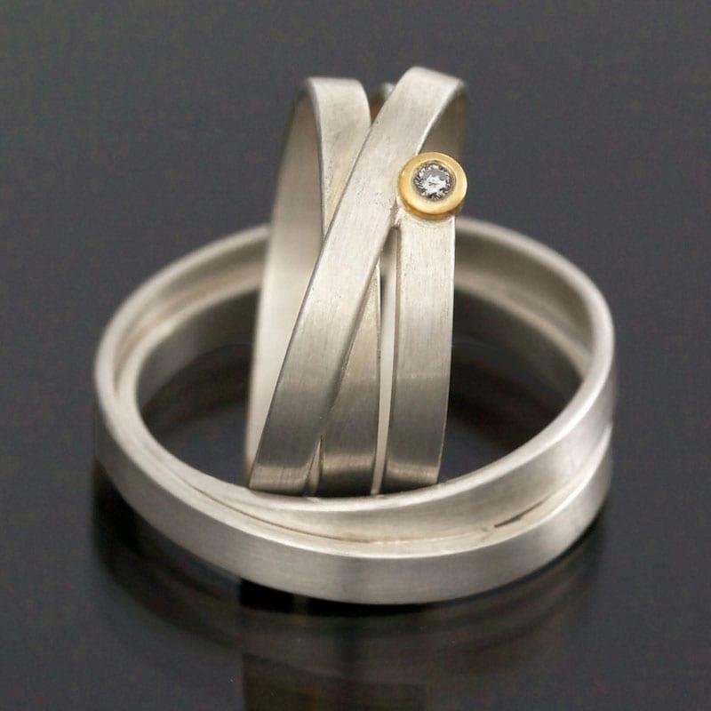 Ringpaar Silber Gold Brillant